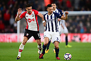 Dusan Tadic of Southampton battles with Kieran Gibbs of West Bromwich Albion .Premier league match, Southampton v West Bromwich Albion at the St. Mary's Stadium in Southampton, Hampshire, on Saturday 21st  October 2017.<br /> pic by Bradley Collyer, Andrew Orchard sports photography.
