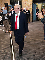 © Licensed to London News Pictures. 09/05/2019.<br /> Medway,UK. Walking into the hall. Labour leader Jeremy Corbyn launching the Labour Party's European election manifesto at University of Kent, Medway campus, Kent.Photo credit: Grant Falvey/LNP