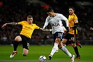 Erik Lamela of Tottenham Hotspur (11) scores his team's second goal. The Emirates FA Cup, 4th round replay match, Tottenham Hotspur v Newport County at Wembley Stadium in London on Wednesday 7th February 2018.<br /> pic by Steffan Bowen, Andrew Orchard sports photography.