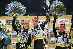 28.12.2013, Veltins Arena, Gelsenkirchen, GER, IBU Biathlon, Biathlon World Team Challenge 2013, im Bild Laura Dahlmeier (Deutschland / Germany), Florian Graf (Deutschland / Germany) jubeln bei der Siegerehrung, freuen sich, celebrating, Emtotion, Freude, Glueck, Luck // during the IBU Biathlon World Team Challenge 2013 at the Veltins Arena in Gelsenkirchen, Germany on 2013/12/28. EXPA Pictures © 2013, PhotoCredit: EXPA/ Eibner-Pressefoto/ Schueler<br /> <br /> *****ATTENTION - OUT of GER*****