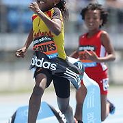 Adaria Reaves, USA, winning the Girls' Fastest Kid in New York 100m during the Diamond League Adidas Grand Prix at Icahn Stadium, Randall's Island, Manhattan, New York, USA. 14th June 2014. Photo Tim Clayton
