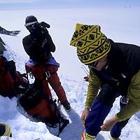 ANTARCTICA, Queen Maud Land. Conrad Anker films Alex Lowe on Queen Maud Land expedition.