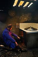 Chine, Province du Sichuan, Mingshan, usine de thé, sechage des feuilles de thé // China, Sichuan province, Mingshan, tea factory, drying tea leaves