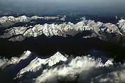 Snow capped peaks of the Alps photographed from jet. Italy/France. Taken 9-11-01 on flight to Hamburg.