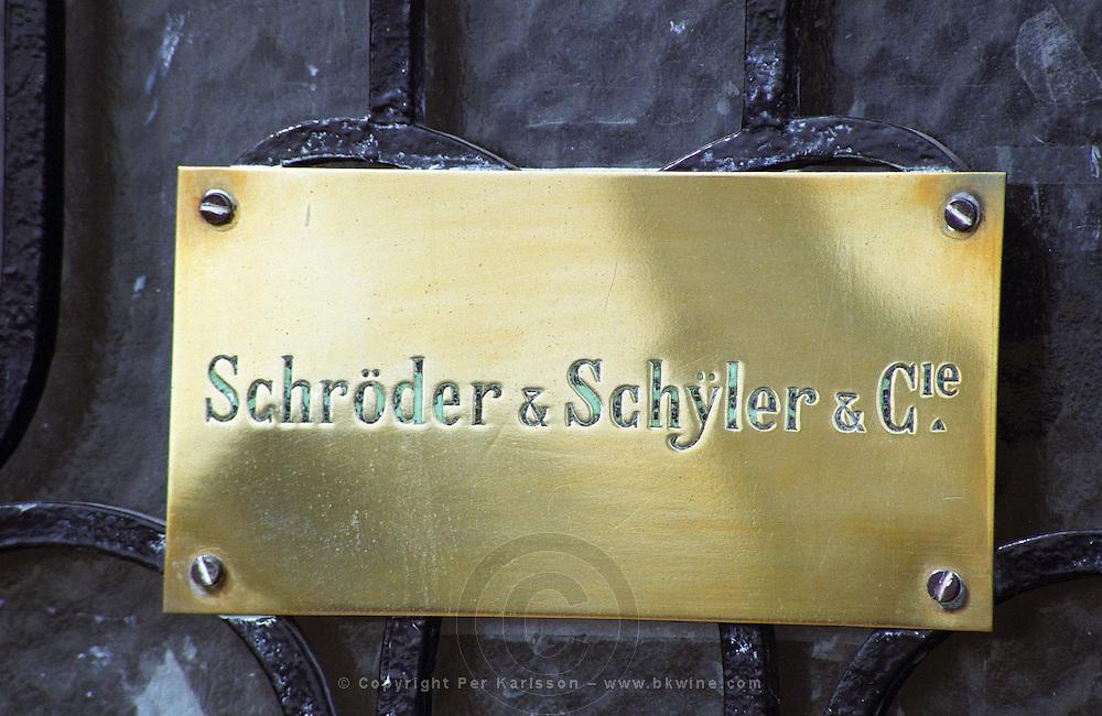 Brass sign Schroder & Schyler & Cie at the negociant offices on Quai des Chartrons. On Les Quais. Bordeaux city, Aquitaine, Gironde, France