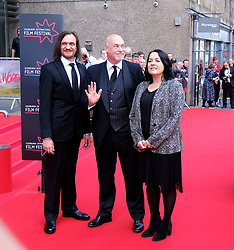 Edinburgh International Film Festival 2019<br /> <br /> Boyz In The Wood (European Premiere)<br /> <br /> Stars and guests arrive on the red carpet<br /> <br /> Pictured: Niall Greig Fulton, Artistic Director Mark Adams and Deputy Artistic Director Diane Henderson<br /> <br /> Alex Todd   Edinburgh Elite media