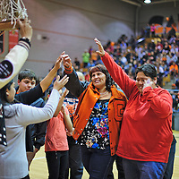 020114       Cayla Nimmo<br /> <br /> The 1994 Women's basketball State Champions returned to Gallup High Friday night to be honored during halftime of the Gallup Bengals and Miyamura Patriots game.