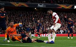 Arsenal's Alexandre Lacazette misses a chance from close range