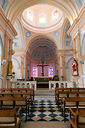 The interior of Notre Dame des Anges church, Pondicherry, India. Built in the 1850s the church is in the  French Quarter of the town and looks out towards the Indian Ocean.