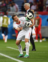 KALININGRAD, June 22, 2018  Stephan Lichtsteiner of Switzerland reacts during the 2018 FIFA World Cup Group E match between Switzerland and Serbia in Kaliningrad, Russia, June 22, 2018. (Credit Image: © Chen Cheng/Xinhua via ZUMA Wire)