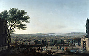 Town of Toulon and Toulon Roads' , 1756. Oi on canvas. Horace Vernet (1758-1835) French Academic painter. French military port on the Mediterranean. View across town to the port and shipping in safe anchorage.