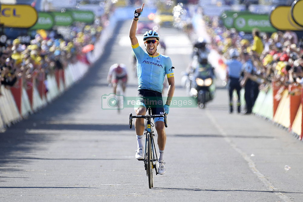 July 21, 2018 - Mende, FRANCE - Spanish Omar Fraile of Astana celebrates as he crosses the finish line to win the 14th stage in the 105th edition of the Tour de France cycling race, from Saint-Paul-Trois-Chateaux to Mende (188km), France, Saturday 21 July 2018. This year's Tour de France takes place from July 7th to July 29th. BELGA PHOTO YORICK JANSENS (Credit Image: © Yorick Jansens/Belga via ZUMA Press)