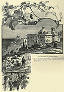 The Convent on Mount Carmel Its terraced roof commands extensive views along the coast, north and south. The building on the left is used for the accommodation of native pilgrims, and is surmounted by a lighthouse four hundred and seventy feet above the sea Wood engraving of from 'Picturesque Palestine, Sinai and Egypt' by Wilson, Charles William, Sir, 1836-1905; Lane-Poole, Stanley, 1854-1931 Volume 3. Published in by J. S. Virtue and Co 1883