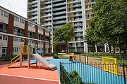 Park Heights SW9 next to Dudley House on 3rd August 2016 in London, United Kingdom. Park Heights is a new housing tower block in the London Borough of Lambeth, adjacent to Brixton Road.