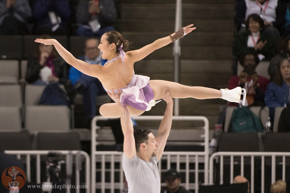 January 4, 2018; San Jose, CA, USA; Erika Choi Smith and AJ Reiss perform in the pairs short program during the 2018 U.S. Figure Skating Championships at SAP Center.