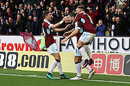 Sam Vokes of Burnley (c) celebrates with his teammates after scoring his teams 1st goal. Premier League match, Burnley v Everton at Turf Moor in Burnley , Lancs on Saturday 22nd October 2016.<br /> pic by Chris Stading, Andrew Orchard sports photography.