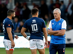 Benetton Treviso's Head Coach Kieran Crowley talks to Tommaso Allan during the pre match warm up<br /> <br /> Photographer Simon King/Replay Images<br /> <br /> Guinness PRO14 Round 1 - Dragons v Benetton Treviso - Saturday 1st September 2018 - Rodney Parade - Newport<br /> <br /> World Copyright © Replay Images . All rights reserved. info@replayimages.co.uk - http://replayimages.co.uk