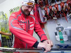 Stefan Lichon and Gianluca Marcolini in the service center of Slovenian Nordic team at FIS Nordic World Ski Championships Liberec 2008, on February 22, 2009, in Vestec, Liberec, Czech Republic. (Photo by Vid Ponikvar / Sportida)