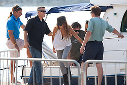 24.09.2011, Korcula, CRO, Actress Penelope Cruz arrived with husband Javier Bardem and son Leo to continue shoot her latest movie Venuto al Mondo on the island of Korcula. They are staying in a luxury Lesic Dimitri Palace. They came with boat from Orebic, accompanied by police and security guards. Police tried to stop the work of reporters who were on the premises. In the end they put out the bedsheets on the street, completely close the street and blocked view for interested tourists. EXPA Pictures © 2011, PhotoCredit: EXPA/ nph/ Pixsell +++++ ATTENTION - OUT OF GERMANY/(GER), CROATIA/(CRO), BELGIAN/(BEL) +++++