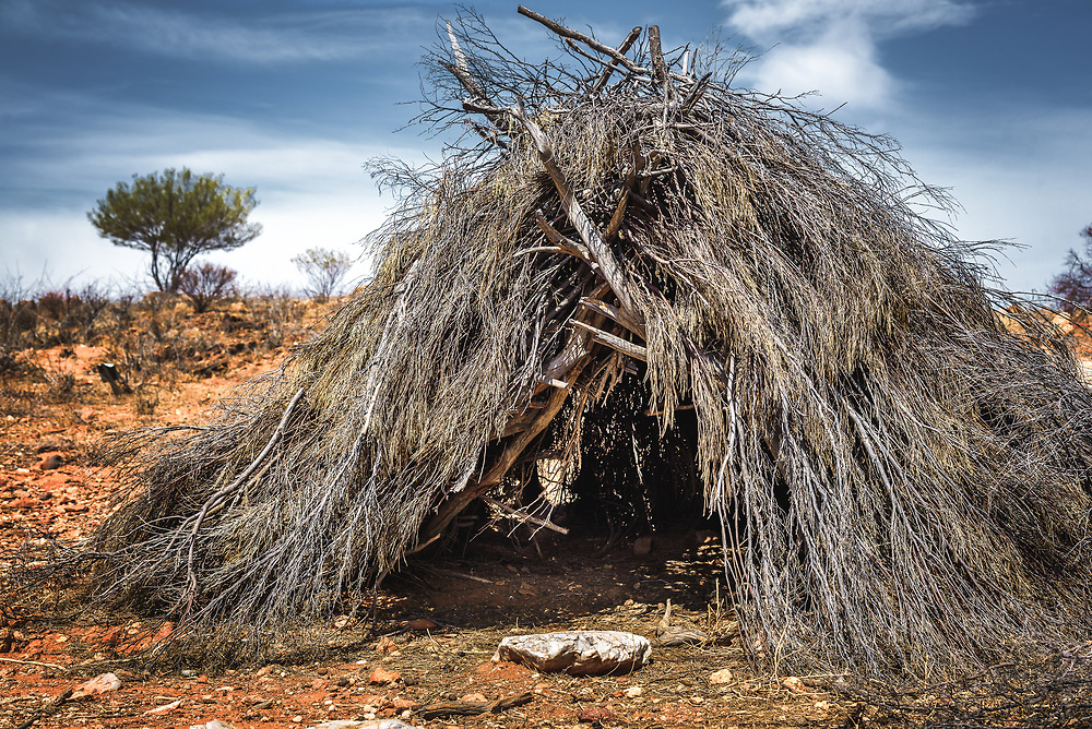 Traditional aporiginal shelter Yarapa in  Broken Hill living desert park.