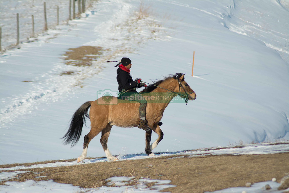 December 3, 2016 - A water protector is riding his horse at the Oceti Sakowin Camp at Standing Rock, ND (Credit Image: © Dimitrios Manis via ZUMA Wire)