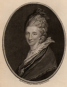 Mrs Piozzi. Hester Lynch Thrale (born Hester Lynch Salusbury 1741-1821) British diarist and author.  Friend of many literary figures of her day, particularly of Dr Johnson. After the death of her husband Henry Thrale, in 1784 she married Gabriel Piozzi, an Italian dancing master. Engraving  from 'The European Magazine' (London, July 1786).