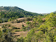 A landscape view of farmland and rolling hills of Shan State, Myanamar (Burma)