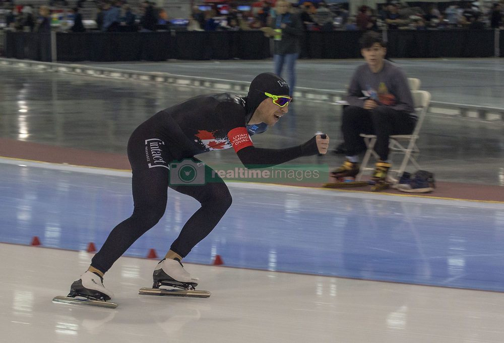 March 9, 2019 - Salt Lake City, Utah, USA - Jordan Belchos of Canada competes in the 5000m speed skating finals at the ISU World Cup at the Olympic Oval in Salt Lake City, Utah. Belchos finished with a time of 6:13.39. (Credit Image: © Natalie Behring/ZUMA Wire)