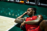 MIAMI, FL - November 5, 2019: Aidan stretches before his first game for the Louisville Cardinals on the road verse the Miami Hurricanes.<br /> <br /> Photo by: Johnnie Izquierdo