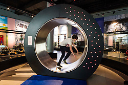 Pictured: Henry Boyle (14) tries to light up the energy wheel<br /> <br /> The National Museum of Scotland will launch ten new galleries on 8 July following a £14.1 million redevelopment in their 150th year.  <br /> <br /> Ger Harley   EEm 5 July 2016