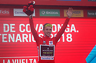 Simon Yates (GBR, Mitchelton Scott), podium during the 73th Edition of the 2018 Tour of Spain, Vuelta Espana 2018, Stage 15 cycling race, 15th stage Ribera de Arriba - Lagos de Covadonga 178,2 km on September 9, 2018 in Spain - Photo Luis Angel Gomez/ BettiniPhoto / ProSportsImages / DPPI