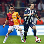 Galatasaray's Emre COLAK (L) and Kasimpasaspor's Sahin AYGUNES (R) during their Turkish Super League soccer match Galatasaray between Kasimpasaspor at the TT Arena at Seyrantepe in Istanbul Turkey on Monday 09 May 2011. Photo by TURKPIX