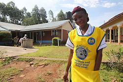 Violet Nyamwanya at Angiya MMS clinic. SAHFA baseline survey visit to Angiya, Homa Bay County, Kenya.  SAHFA Kenya © April 2019