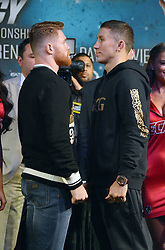 September 13, 2017 - Las Vegas, Nevada, United States of America - Boxers champion Gennady Golovkin and challenger Canelo Alvarez attend the final press conference  for their Undisputed IBO, IBF, WBC, WBA Middleweight Championship bout  on September13, 2017 at the David Copperfield Theater inside the MGM Grand  hotel & Casino in Las Vegas, Nevada (Credit Image: © Marcel Thomas via ZUMA Wire)