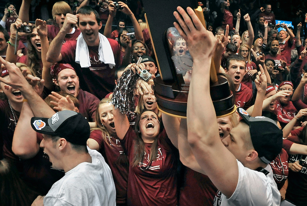 Bellarmine fans cheer on the team after their 71-68 win against BYU-Hawaii in the NCAA Division II men's college basketball championship in Springfield, Mass.(AP Photo/Jessica Hill)