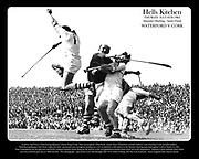 Hells Kitchen: Munster Hurling Semi-Final Waterford V Cork: In photo: Ned Power (Waterford goalkeeper), Christy Ring (Cork), Tom Cunningham (Waterford), Austin Flynn (Waterford, partially hidden), Liam Dowling (Cork, partially hidden).  <br /> Waterford goalkeeper Ned Power makes the most  spectacular and courageous hurling save ever recorded by a still camera in the Munster Hurling semi-final against Cork in Thurles in 1962. <br /> Tom Cunningham has his right arm and hurley wrapped around Christy Ring but the activity of the two gladdiators behind them is best left to the imagination. Tipperary's great defender John Doyle <br /> once described his goal area as 'Hell's Kitchen.  This photograph,  captured by Louis MacMonagle (RIP 1975) while working with The Cork Examiner,  shows magnificently what he meant.