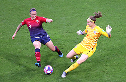 Norway's Isabell Herlovsen (left) and England goalkeeper Karen Bardsley battle for the ball during the FIFA Women's World Cup, Quarter Final, at Stade Oceane, Le Havre, France.