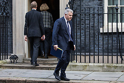 London, UK. 28 January, 2020. Brandon Lewis, Minister of State for Security, leaves 10 Downing Street following a National Security Council meeting convened to finalise the role of Chinese multinational technology company Huawei in the construction of the UK's 5G digital network.
