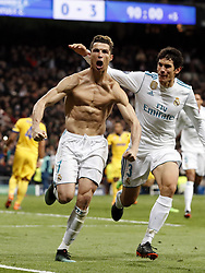 (l-r) Cristiano Ronaldo of Real Madrid, Jesus Vallejo of Real Madrid during the UEFA Champions League quarter final match between Real Madrid and Juventus FC at the Santiago Bernabeu stadium on April 11, 2018 in Madrid, Spain