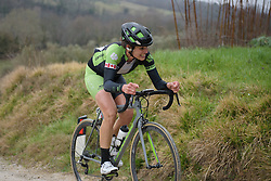 Joëlle Numainville (Cylance) at Strade Bianche - Elite Women. A 127 km road race on March 4th 2017, starting and finishing in Siena, Italy. (Photo by Sean Robinson/Velofocus)