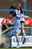 Photo: Paul Thomas.<br /> Preston North End v Manchester City. The FA Cup. 18/02/2007.<br /> <br /> Bernardo Corradi (Blue) of Man City has Matty Hill crash into the back of him.