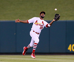 July 7, 2017 - St Louis, MO, USA - St. Louis Cardinals center fielder Dexter Fowler catches a fly ball by the New York Mets' Travis D'Arnaud in the fifth inning on Friday July 7, 2017, at Busch Stadium in St. Louis. The Mets won, 6-5. (Credit Image: © Chris Lee/TNS via ZUMA Wire)