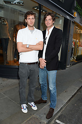 Left to right, ISAAC FERRY and HUGO HEATHCOTE at an evening of Dinner & Dancing at Daphne's, 112 Draycott Avenue, London SW3 on 24th July 2013.