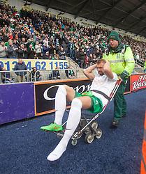 Hibernian's Jordan Forester injured. <br /> Falkirk 0 v 3 Hibernian, Scottish Championship game played at The Falkirk Stadium 2/5/2015.