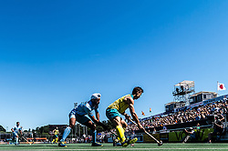 (L-R) Jarmanpreet Singh of India, Tom Craig of Australia during the Champions Trophy finale between the Australia and India on the fields of BH&BC Breda on Juli 1, 2018 in Breda, the Netherlands.