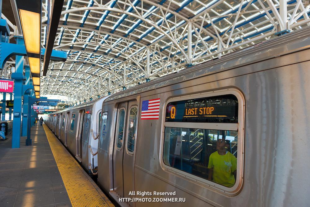 Boy in a train on Coney Island subway station, Brooklyn, New York