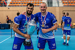 Hossein Ghanbari #13 of Lycurgus and Dennis Borst #18 of Lycurgus after the supercup final between Amysoft Lycurgus - Active Living Orion on October 04, 2020 in Van der Knaaphal, Ede