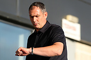 Swansea manager Paul Clement checks his watch prior to kick off. Pre-season friendly match, Barnet v Swansea city at the Hive in London on Wednesday 12th July 2017.<br /> pic by Steffan Bowen, Andrew Orchard sports photography.