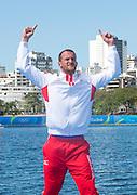 "Rio de Janeiro. BRAZIL.  CRO M1X Silver Medalist. Damir MARTIN.  Olympic Rowing Regatta. Lagoa Stadium,<br /> Copacabana,  ""Olympic Summer Games""<br /> Rodrigo de Freitas Lagoon, Lagoa.   Saturday  13/08/2016 <br /> <br /> [Mandatory Credit; Peter SPURRIER/Intersport Images]"