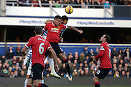 Marcos Rojo of Manchester United blocks Charlie Austin of QPR for the ball. Barclays Premier league match, Queens Park Rangers v Manchester Utd at Loftus Road in London on Saturday 17th Jan 2015. pic by John Patrick Fletcher, Andrew Orchard sports photography.